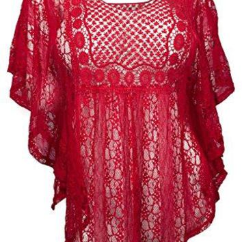 eVogues Womens Sheer Crochet Lace Poncho Top Made in USA