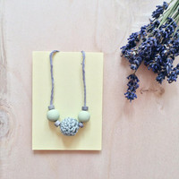 Pastel Mint Necklace, Crochet Wooden Beads Necklace, Cotton Anniversary Gift, Eco-friendly Necklace