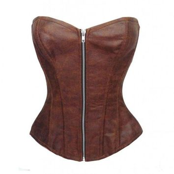 DCCKIX3 Sexy Women Corset Plus Size Gothic Faux Leather Overbust Bustier Shapewear Corselet Black or Brown = 1930001668