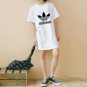 """""""Adidas"""" Women Sport Casual Classic Letter Logo Print Short Sleeve Middle Long Section T-shirt Loose Dress"""