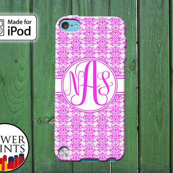 Hot Pink Damask Pattern Cute Cursive Custom Monogram Initials for iPod Touch 4th Generation and iPod Touch 5th Generation Gen Plastic Rubber