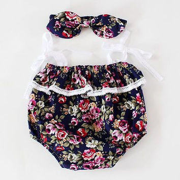 2Pcs set Infant Toddler Baby Girl Romper Jumpsuit Clothes +bow headband Outfits Sunsuit NEW