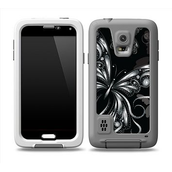 The Vibrant Black & Silver Butterfly Outline Skin Samsung Galaxy S5 frē LifeProof Case