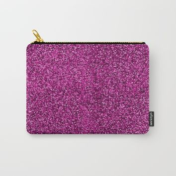 Deep Pink Glitter Carry-All Pouch by Colorful Art