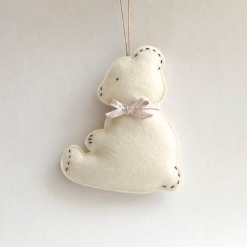 Felt Baby Bear, Baby First Christmas, New Baby Gift, Baby Room Decoration, Gender Neutral, Nursery Wall Decor, Hand Embroidered, Custom