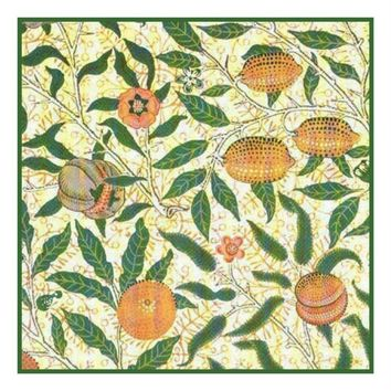 William Morris Peach Fruit Design Counted Cross Stitch or Counted Needlepoint Pattern