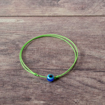 Green String Evil Eye Bracelet. Blue Evil Eye. Kabbalah Bracelet. Amulet Talisman, Mati Nazar Protection. Love Couple Bracelets, Wish String