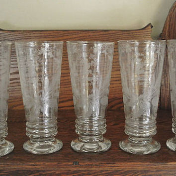 Museum Quality German Beer Etched Engraved Antique Hand Blown Glasses Beaker Shaped Set of Five Germany Dancing Goat with Drinking Rhymes