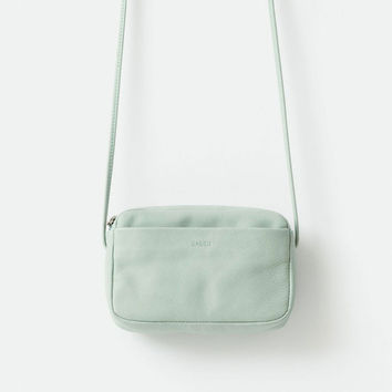 BAGGU Leather Mini Purse Sea Glass