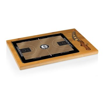 Brooklyn Nets - 'Icon' Glass Top Serving Tray & Knife Set by Picnic Time (Basketball Design)