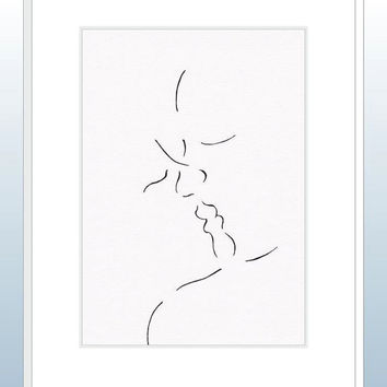 Romantic lovers kiss illustration. Original ink pen line art. Minimalist drawing. Black and white modern home decor. Valentines gift idea.