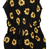 HENGSONG Women Sunflower Printing Sexy Strap Tight Waist Jumpsuits