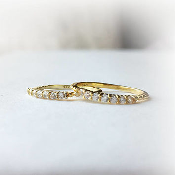 Gold Midi Ring • Gold Stacking Ring • Gold Band Ring • Thin Ring • Pinky Ring • Wedding Band • Cz Band • Gold Ring | 0040RM