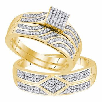 10kt Yellow Gold His & Hers Round Diamond Square Cluster Matching Bridal Wedding Ring Band Set 1/3 Cttw