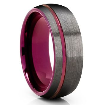 Purple Tungsten Wedding Band - Gunmetal Ring - Purple Wedding Ring - Brush