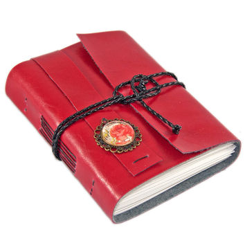 Red Faux Leather Journal with Blank Paper and rose cameo
