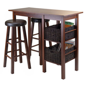 5pc Breakfast Table with 2 Baskets andSwivel PVC Stools