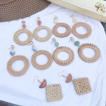 New Japan Handmade Irregular bead Stone Wooden Big Hollow Out Round Circle Rattan Straw Weave Drop Earrings for Women