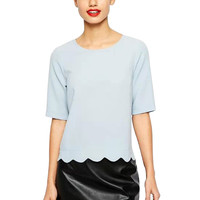 Short Sleeve Scalloped Cropped Top