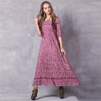 Ladies Spring Summer Dresses 2017 High Quality Cotton Linen Vintage Dresses Hollow National style Embroidery Long Dress vestidos