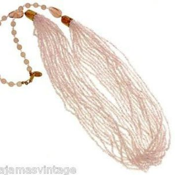 Vintage Miriam Haskell Pink Glass Beads/Seed Beads Necklace