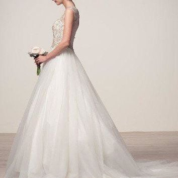 cap sleeve ball gown wedding dress 106-HCW1007
