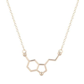 QIAMNI Serotonin Molecule Chemistry Geometric Polygon Pendant Necklace Minimalist Jewelry Christmas Party Gift for Girls Women