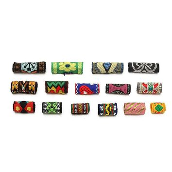 15Pcs/Lot Mix Colorful Fabric Hair Braid Dread Dreadlock Beads Tube Ring Clips Cuff 8-12mm Hole Braiding Extension Accessories
