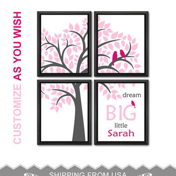 baby girl nursery art baby bird on tree kids room decor baby name art love bird family in tree baby quotes girls room decor baptism gift