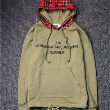 DCCKJH2 High Quality Supreme Unisex Plaid Hip-hop Hoodies