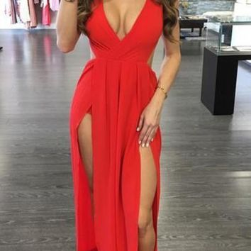 Red Plain Draped Tie Back Side Slit Maxi Dress