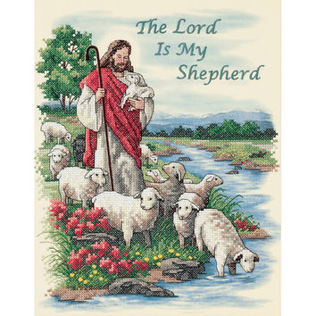 "The Lord Is My Shepherd Stamped Cross Stitch Kit-11""""X14"""""