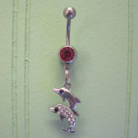 Belly Button Ring - Body Jewelry -Rhinestone Dolphins with Pink Gem Stone Belly Button Ring
