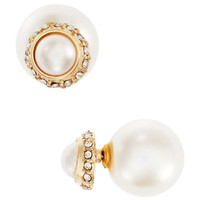 Catherine Stein Front Back Faux Pearl Stud Earrings