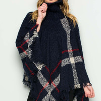Navy Cowl Neck Plaid Poncho Pullover Sweater