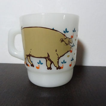 Vintage Retro Anchor Hocking Pig or Sow On Roller Skates Milk Glass Coffee Mug - Rare Vintage Coffee Mug