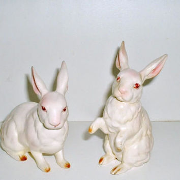 Lefton Bunny Figurines Rabbits 1960's White with Pink Easter H880 Lot of 2 Vintage
