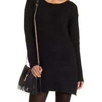 Black Scoop Neck Ribbed Sweater Dress by Charlotte Russe