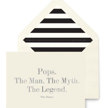 Pops. The Man. The Myth. The Legend. Greeting Card, Single Folded Card