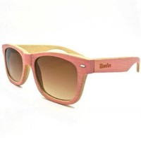WOODIES Pink Full Bamboo Wood Sunglasses