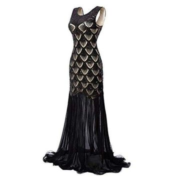 1920s Dresses Sequin Mermaid Long Gown V-Back Beads Evening Prom