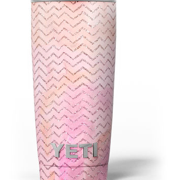The Pink Abstract Watercolor Sparkling Chevron Yeti Rambler Skin Kit