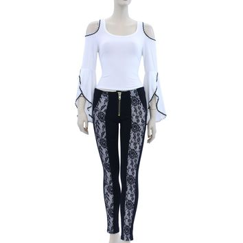 Black See Through Mesh Zipper Accented Leggings Pants Size S M L CH9030