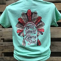 Southern Chics Wild Heart Gypsy Soul Feathers Headdress Girlie Bright T Shirt