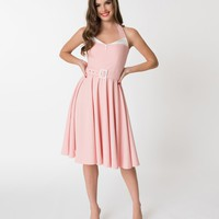 Glamour Bunny Light Pink & White Halter Top Alice Swing Dress