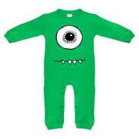Cyclops Monster Green Long Sleeve Romper