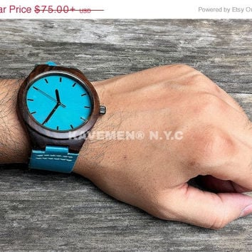 SALE Mens Wood Watches. Watches. Engrave Watch. Personalized Watch. Montre Bois, Montre En Bois Gravé. Wood Watch. Kavemen. Blue Ocean