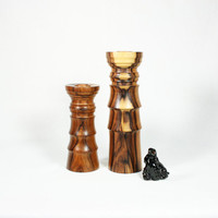Variegated Turned Wood Candlesticks Set
