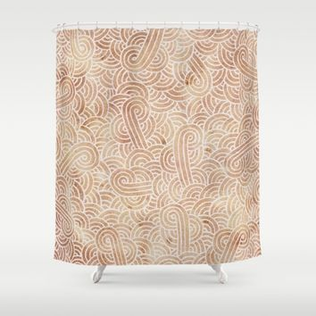 Iced coffee and white zentangles Shower Curtain by Savousepate