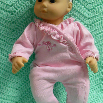 "American Girl BITTY BABY clothes ""Dreamin' of Ballet"" (15 inch) doll outfit with sleeper and headband hair clip  pajamas"
